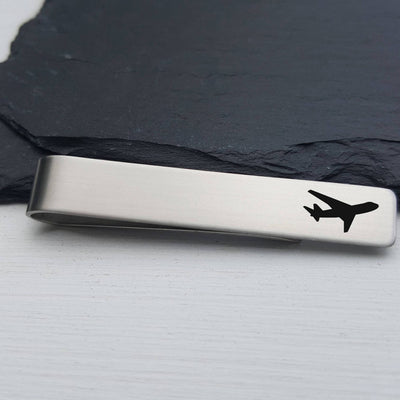 Laser Engraved Mens Tie Bar, Airplane, Personalized Gifts, Custom Clip, For Him, Wedding Keepsake, Pilot Gift, LGC10344