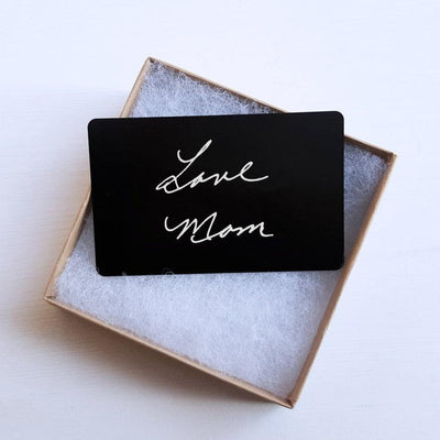 Laser Engraved Wallet Insert Card, Actual Handwriting, Custom Drawing, Metal, Personalized, Gift for Men, Gifts for Her, Memorial, LGC10144