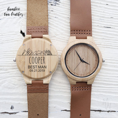 Laser Engraved Best Man Gift, Custom Wooden Watch, Eco-friendly Gift, Leather Band, Personalized Gift for Him, Wedding Keepsake, TBC10064