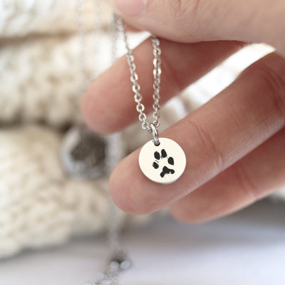 Laser Engraved Actual Paw Print, Personalized Pet Portrait Necklace, Pet Gift for Wife or Girlfriend, Pet Loss Pendant for Women, LXJC100233