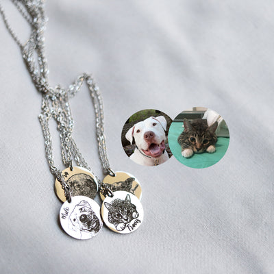 Laser Engraved Actual Pet Portrait Necklace for Mom, Animal Lover, Pet Gift for Wife or Girlfriend, Pet Loss Pendant for Women, LXJC100232