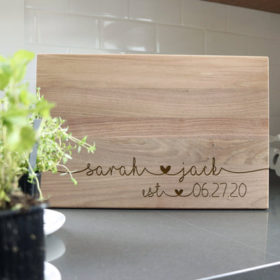 Laser Engraved Personalized Cutting Board, Custom Wedding Gift for Couple, FAM10043