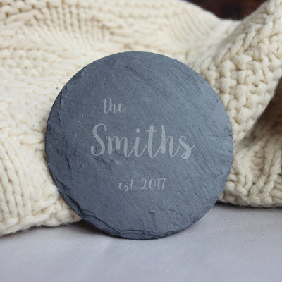 Laser Engraved Personalized Slate Coasters,  Personalized Coaster, Custom Wedding Gift for Couple, FAM10041
