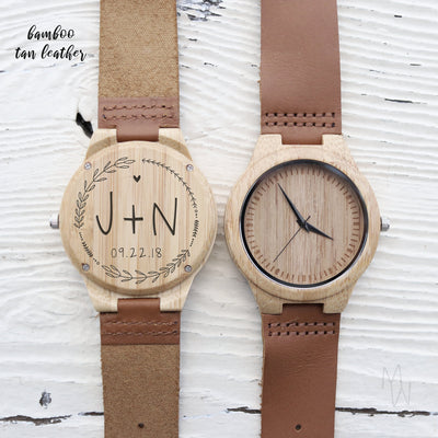 Custom Wooden Watch, Personalized Gift, For Men Who Have Everything, Leather, Zebrawood, Wedding Gifts, Engraved, TBC10054