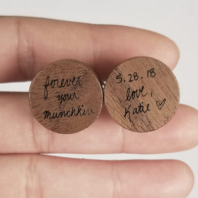 Laser Engraved Personalized Cufflinks, Wood, Acutal Handwriting, Custom Cuff links for Men, Father of the Bride Gift, TBC10043