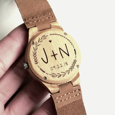 Laser Engraved Wood Watch, Best Wedding Gift for Groom from Bride, Personalized Mens Gift, For Men, Custom Initials, TBC10036