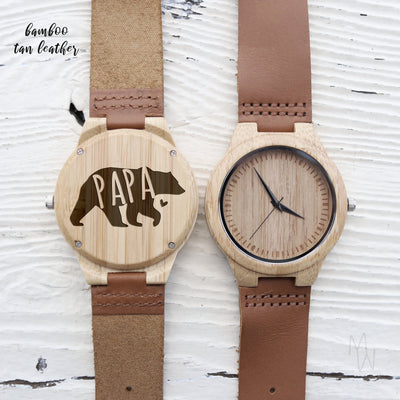 Laser Engraved Personalized Watch, Gifts for Dad, Papa Bear, Father's Day Gift, Wood, For Men, Walnut, TBC10014