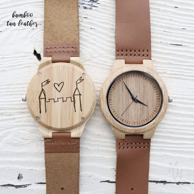 Laser Engraved Father's Day Gift, Child's Drawing, Custom Wooden Watch, Eco-friendly Gift, Leather Band, For Men, Gift for Him, TBC10073