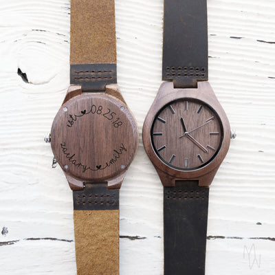 Custom Wooden Watch, Eco-friendly Gifts, Leather Band, For Men, 5th Anniversary Gift for Him, For Her, Wedding Keepsake, TBC10015