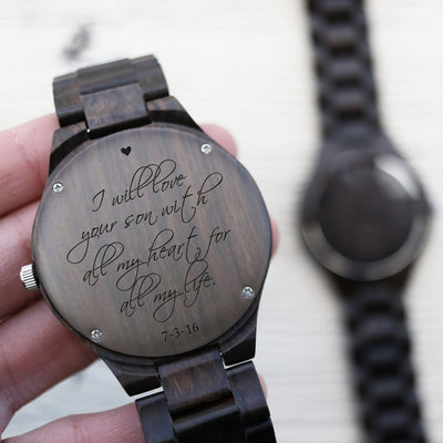 Laser Engraved Engraved Watch, Father of the Bride Gift, Wooden Jewelry, Gifts for Men, Personalized, For Dad, For Him, LGC10084