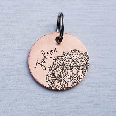 Round Dog Tag, Custom Pet ID Tag, Whimsical Gift, Personalized Cat Tag, Double Sided, Fun, Cute Collar Tag, Rose Gold, Mandala, LPTC10100