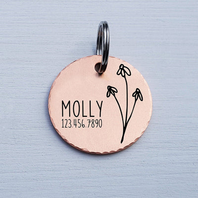 Round Dog Tag, Custom Pet ID Tag, Whimsical Gift, Personalized Cat Tag, Double Sided, Fun, Cute Collar Tag, Rose Gold, Flower, LPTC10124