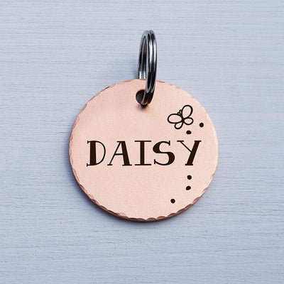 Round Dog Tag, Custom Pet ID Tag, Whimsical Gift, Personalized Cat Tag, Double Sided, Fun, Cute Collar Tag, Rose Gold, Butterfly, LPTC10122