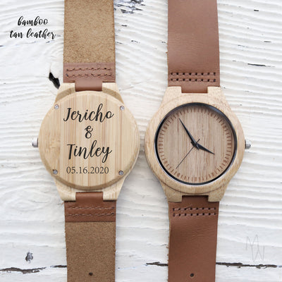 Laser Engraved Wood Watch, Gift for Groom From Bride, Personalized Engraving, Wooden Jewelry for Couple, 5th Anniversary Gift, LGC10113