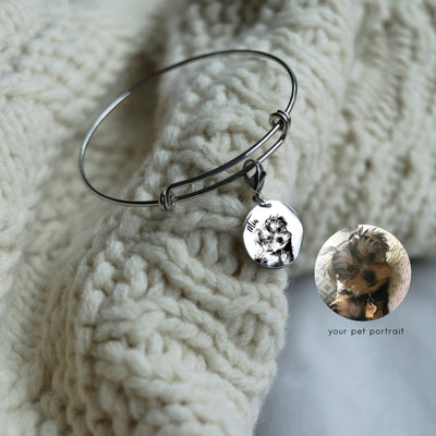 Laser Engraved Pet Portrait, Custom Charm Bracelet, Personalized Pet Gift for Mom, Pet Loss Memorial for Her, LXJC100235