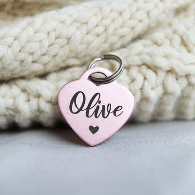 Engraved Blush Pink Dog Tag, Heart, Anodized Aluminum Personalized Pet ID, Rose Gold Modern Gift, Cute Font, For Christmas, LPTC10217