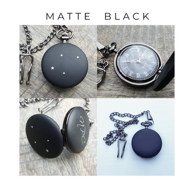 Pocket Watch, Matte Black, Gift for Husband, One Year Anniversary Gift, LGC10342