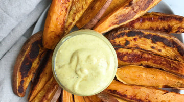 Maple Mustard Dipping Sauce & Sweet Potato Fries