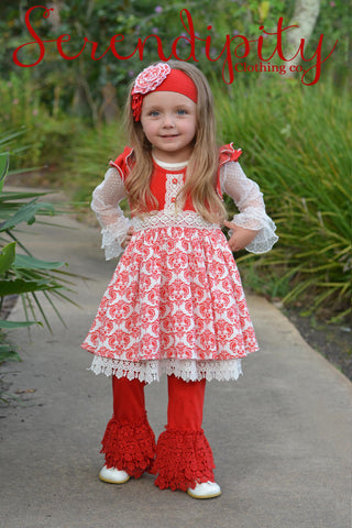 Serendipity Splendid Flutter Dress & Red Crochet Trim Legging Includes a Mesh Layering Top at jenskidsboutique.net