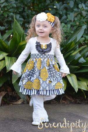 Serendipity Lil  Honey Damask Tunic Top W/ Crochet Ruffle Legging - 24mth - jens-kids-boutique.myshopify.com