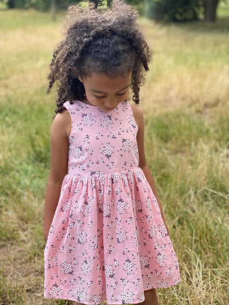 Spring & Summer Vignette Pink Floral Jewel 100% Dress - JEN'S KIDS BOUTIQUE