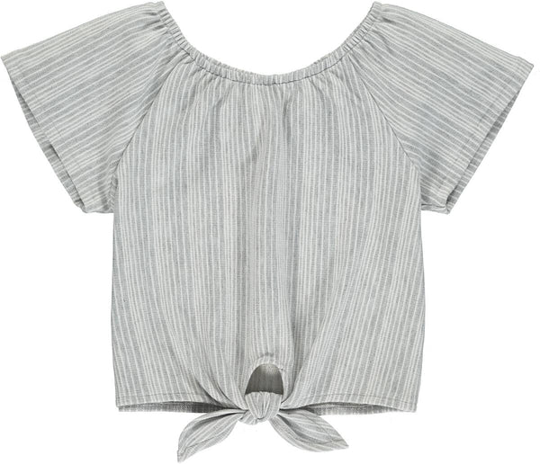 Spring & Summer Vignette Grey Tie Up Eseme Top - JEN'S KIDS BOUTIQUE