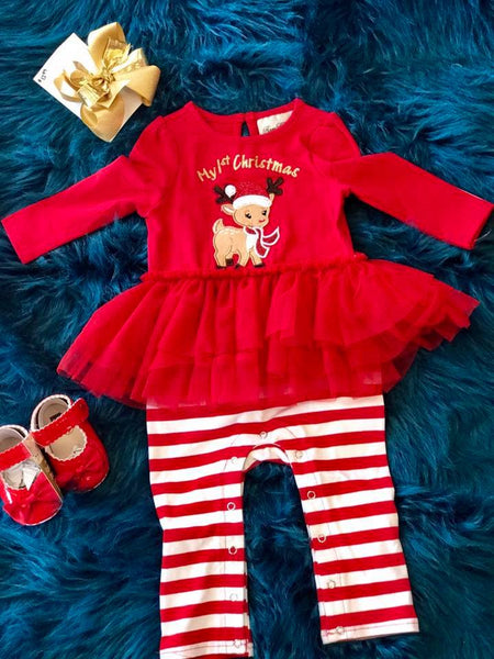 Rare Editions My First Christmas Reindeer Romper CH - JEN'S KIDS BOUTIQUE