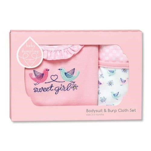 Cr Gibson Little Birdie Girls Bib And Burp Set - JEN'S KIDS BOUTIQUE