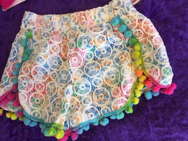Mallory May Colorful Pom Pom Shorts - JEN'S KIDS BOUTIQUE