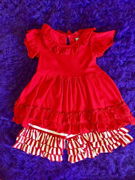 Three Sisters Summer Red/White Stripped Shorts Set - JEN'S KIDS BOUTIQUE