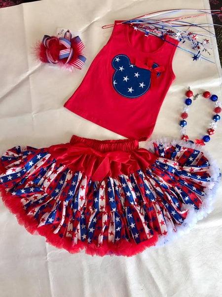Princess Red White Blue Stars TuTu Skirt - JEN'S KIDS BOUTIQUE