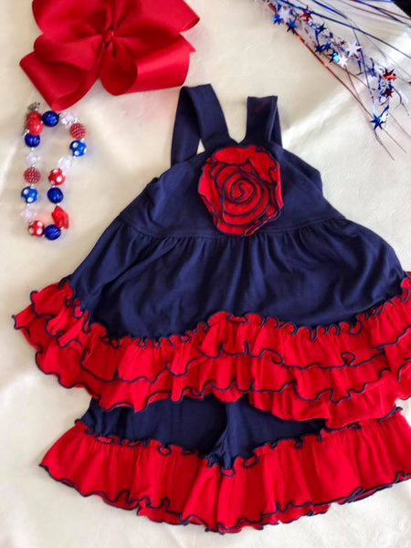 Millie Jay Summer 4th Of July Navy & Red Shorts Set