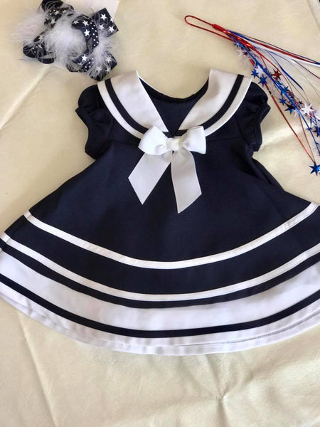 Bonnie Navy & White Dress - JEN'S KIDS BOUTIQUE