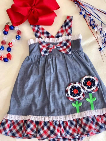 Bonnie Blue Red White Dress - JEN'S KIDS BOUTIQUE