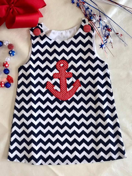 Banana Split Spring Anchor Dress - JEN'S KIDS BOUTIQUE