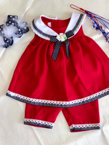 Bonnie Red & Navy Shorts Set - JEN'S KIDS BOUTIQUE