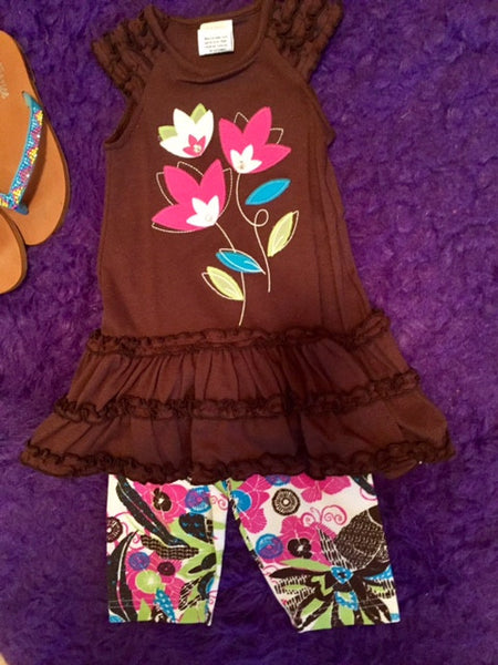 Molly & Millie Summer Brown Flower Capri Set - JEN'S KIDS BOUTIQUE