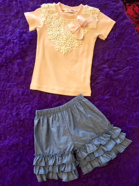 Sage & Lilly Spring Chambray Basic-Tripple Ruffle Shorts - JEN'S KIDS BOUTIQUE