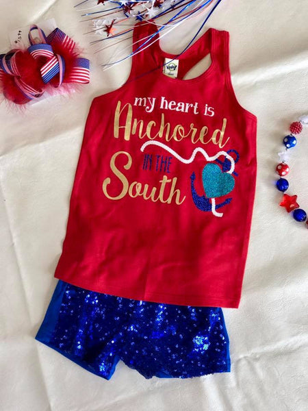Hopes Chest 4th Of July My Heart Is Anchored In The South Shirt