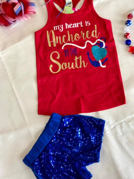 Hopes Chest 4th Of July My Heart Is Anchored In The South Shirt - JEN'S KIDS BOUTIQUE