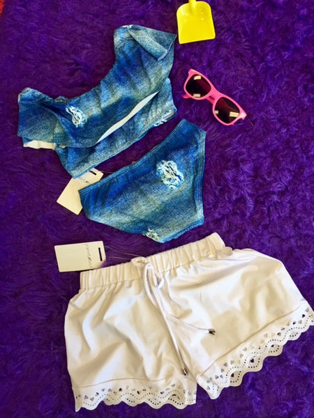 Planet Sea White Laser Cut Swim Shorts - JEN'S KIDS BOUTIQUE