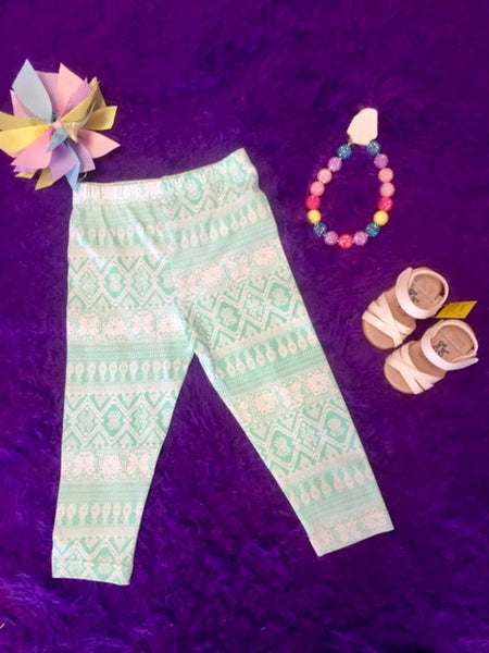 Mallory May By Peaches N Cream Spring Capri Aqua Polka Dot Leggings