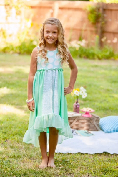 Mallory May Easter Aqua Polka Dot Dress - JEN'S KIDS BOUTIQUE