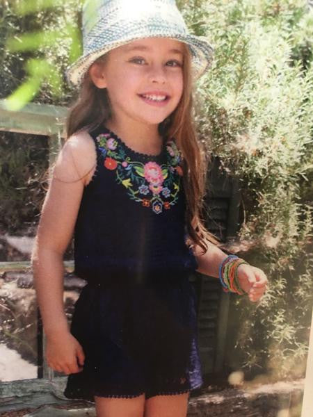 Hannah Banana Navy Floral Chochet Flower Romper - JEN'S KIDS BOUTIQUE