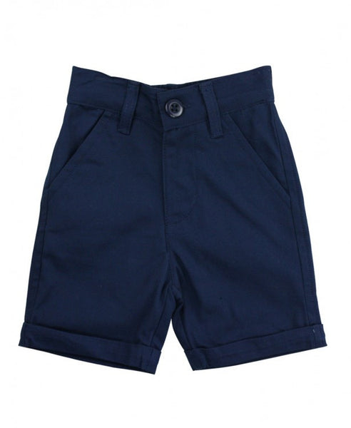 Rugged Butts Boys Navy Cuffed Chino Shorts - JEN'S KIDS BOUTIQUE