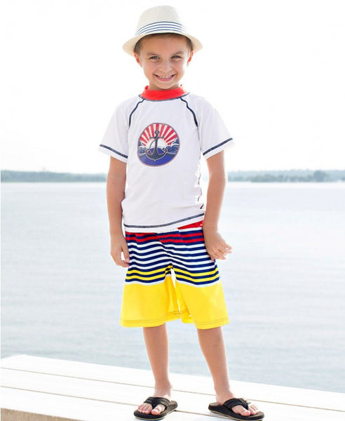 Rugged Butts Boys Shore Stripped Swim Trunks - JEN'S KIDS BOUTIQUE