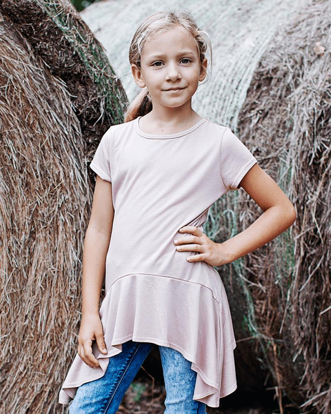 2019 SPRING & SUMMER JENNILEE TAPERED TEE - MAUVE - JEN'S KIDS BOUTIQUE