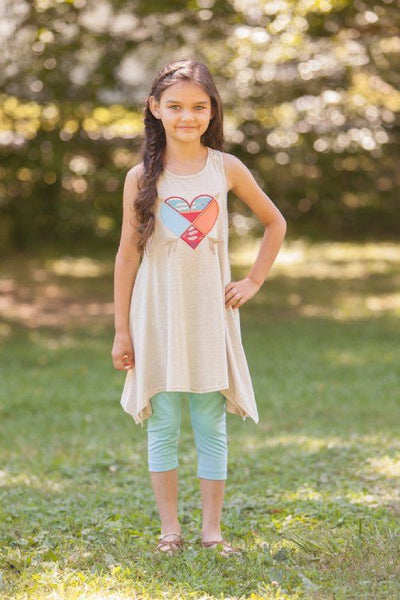 Mallory May By Peaches N Cream Spring Swing Tunic Sand - JEN'S KIDS BOUTIQUE