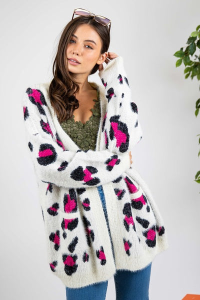 New Fall Women's Long Sleeve Animal Print Cardigan  Ivory & Fuchsia - JEN'S KIDS BOUTIQUE