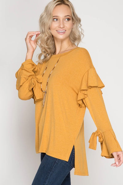 2018 Fall Women's Long Bell Sleeve Top With Ruffled Armholes And Sleeve Ties - JEN'S KIDS BOUTIQUE